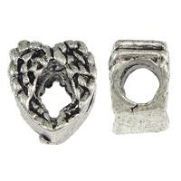 Messing European stijl kralen, Hart, antiek zilver plated, zonder troll, nikkel, lood en cadmium vrij, 9x11mm, Gat:Ca 5mm, 100pC's/Lot, Verkocht door Lot