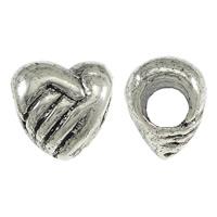 Messing European stijl kralen, Hart, antiek zilver plated, zonder troll, nikkel, lood en cadmium vrij, 10x10x8mm, Gat:Ca 4.5mm, 200pC's/Lot, Verkocht door Lot