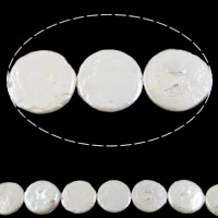 Coin Cultured Freshwater Pearl Beads, natural, white, Grade AA, 15-18mm, Hole:Approx 0.8mm, Sold Per 15 Inch Strand
