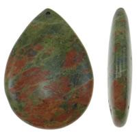 Wisiorki z unakitu, Unakit, Łezka, Naturalne, 35x50x9.50mm, otwór:około 1.5mm, 5komputery/torba, sprzedane przez torba