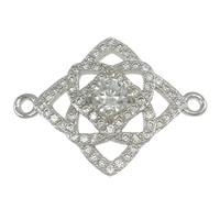 Коннекторы из серебра , Серебро 925 пробы, Ромбическая форма, инкрустированное микро кубического циркония & 1/1 петля, 22x16x4mm, отверстие:Приблизительно 1mm, 5ПК/Лот, продается Лот