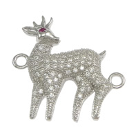 925 Sterling Silver Connectors, Deer, micro pave cubic zirconia & 1/1 loop, 22.50x23.50x4mm, Hole:Approx 2mm, 3PCs/Lot, Sold By Lot