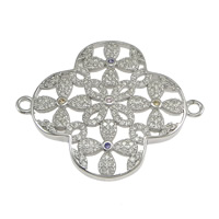 925 Sterling Silver Connectors, Flower, micro pave cubic zirconia & 1/1 loop, 34.50x28x3.50mm, Hole:Approx 2mm, 2PCs/Lot, Sold By Lot