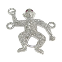 925 Sterling Silver Connectors, Monkey, micro pave cubic zirconia & 2/1 loop, 20x22x3.50mm, Hole:Approx 1mm, 5PCs/Lot, Sold By Lot