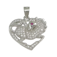 925 Sterling Silver Pendant, Horse, micro pave cubic zirconia, 19x18x3mm, Hole:Approx 3x4mm, 5PCs/Lot, Sold By Lot
