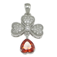 Cubic Zirconia Micro Pave Sterling Silver Pendant, 925 Sterling Silver, Four Leaf Clover, micro pave cubic zirconia, 15x21x5mm, Hole:Approx 3x3.5mm, 5PCs/Lot, Sold By Lot