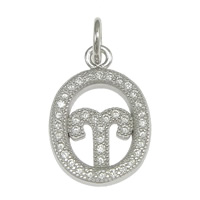 Cubic Zirconia Micro Pave Sterling Silver Pendant, 925 Sterling Silver, Flat Oval, micro pave cubic zirconia, 12x17x2mm, Hole:Approx 3mm, 5PCs/Lot, Sold By Lot