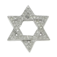 Cubic Zirconia Micro Pave Sterling Silver Pendant, 925 Sterling Silver, Star of David, Jewish  Jewelry & micro pave cubic zirconia, 16x18x3mm, Hole:Approx 2mm, 5PCs/Lot, Sold By Lot