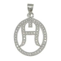 Cubic Zirconia Micro Pave Sterling Silver Pendant, 925 Sterling Silver, Flat Oval, micro pave cubic zirconia, 16x22x2.50mm, Hole:Approx 3x4mm, 5PCs/Lot, Sold By Lot