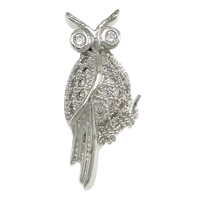 Cubic Zirconia Micro Pave Sterling Silver Pendant, 925 Sterling Silver, Owl, micro pave cubic zirconia, 8x18.50x3.50mm, Hole:Approx 2x4mm, 10PCs/Lot, Sold By Lot