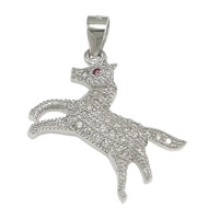 Cubic Zirconia Micro Pave Sterling Silver Pendant, 925 Sterling Silver, Horse, micro pave cubic zirconia, 21x23x3.50mm, Hole:Approx 3x4mm, 5PCs/Lot, Sold By Lot