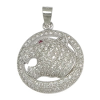 Cubic Zirconia Micro Pave Sterling Silver Pendant, 925 Sterling Silver, Flat Round, micro pave cubic zirconia, 18.50x21.50x6mm, Hole:Approx 3x4mm, 2PCs/Lot, Sold By Lot