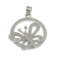 Cubic Zirconia Micro Pave Sterling Silver Pendant, 925 Sterling Silver, Butterfly, micro pave cubic zirconia, 21x24x3.50mm, Hole:Approx 3x4mm, 3PCs/Lot, Sold By Lot