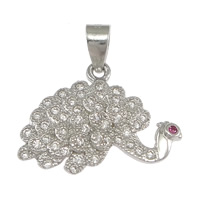 Cubic Zirconia Micro Pave Sterling Silver Pendant, 925 Sterling Silver, Peacock, micro pave cubic zirconia, 19x15x3mm, Hole:Approx 3x4mm, 5PCs/Lot, Sold By Lot