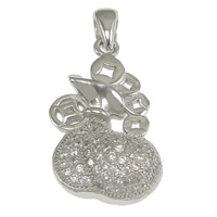 Cubic Zirconia Micro Pave Sterling Silver Pendant, 925 Sterling Silver, Money Bag, micro pave cubic zirconia, 12.50x22x6mm, Hole:Approx 3x4mm, 3PCs/Lot, Sold By Lot