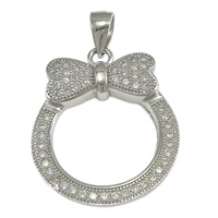 Cubic Zirconia Micro Pave Sterling Silver Pendant, 925 Sterling Silver, Rolo, micro pave cubic zirconia, 18.50x22.50x3mm, Hole:Approx 3x4mm, 5PCs/Lot, Sold By Lot