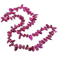 Freshwater Pearl Sweater Necklace, Keishi, fuchsia, 4-21mm, Length:Approx 26 Inch, 5Strands/Bag, Sold By Bag