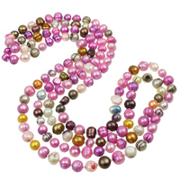 Freshwater Pearl Sweater Necklace, with Glass Seed Beads, Baroque, multi-colored, 7-11mm, Sold Per Approx 59 Inch Strand