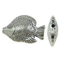 Copper Coated Plastic Beads, Fish, antique silver color plated, lead & cadmium free, 38x27x10mm, Hole:Approx 2mm, 30PCs/Bag, Sold By Bag