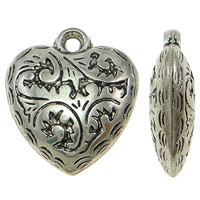 Copper Coated Plastic Pendant, Heart, antique silver color plated, lead & cadmium free, 23x27x8mm, Hole:Approx 3mm, 50PCs/Bag, Sold By Bag