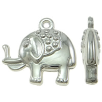 Copper Coated Plastic Pendant, Elephant, platinum color plated, lead & cadmium free, 24x22x6mm, Hole:Approx 2mm, 100PCs/Bag, Sold By Bag