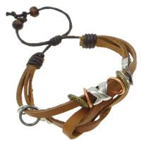 Pulseras de Cuero, con Cordón de cera & madera & aleación de zinc, 2-sarta, marrón, 25mm, longitud:6-7.5 Pulgada, 12Tiras/Bolsa, Vendido por Bolsa