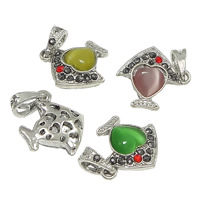 Cats Eye Pendants, Zinc Alloy, with Cats Eye, Fish, antique silver color plated, with rhinestone & hollow, more colors for choice, nickel, lead & cadmium free, 18x20x6mm, Hole:Approx 4x6mm, 100PCs/Lot, Sold By Lot