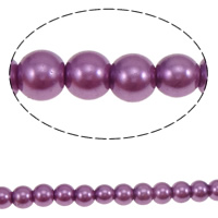 Glass Pearl Beads, Round, painted, purple, 8mm, Hole:Approx 1mm, Length:Approx 32 Inch, 10Strands/Bag, 118/Strand, Sold By Bag