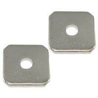 Messing Pakking, Squaredelle, platinum plated, lood en cadmium vrij, 8x8x1mm, Gat:Ca 2mm, 1000pC's/Lot, Verkocht door Lot