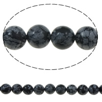Natural Snowflake Obsidian Beads, Round, 10mm, Hole:Approx 1mm, Length:Approx 15 Inch, 10Strands/Bag, Sold By Bag