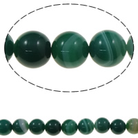 Natural Green Agate Beads, Round, 12mm, Hole:Approx 1mm, Length:Approx 15 Inch, 10Strands/Bag, Sold By Bag