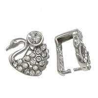 Zinc Alloy Pinch Bail, Swan, platinum color plated, with rhinestone, nickel, lead & cadmium free, 13x14x3mm, 1mm, 100PCs/Lot, Sold By Lot