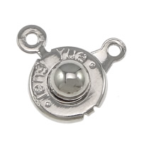 Zinc Alloy Snap Clasp, Flat Round, platinum color plated, single-strand, nickel, lead & cadmium free, 16x10x5mm, Hole:Approx 1mm, 1000PCs/Lot, Sold By Lot