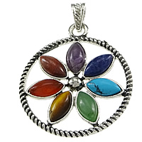 Mixed Gemstone Pendants, with Zinc Alloy, Flat Round, platinum color plated, blacken, nickel, lead & cadmium free, 40x47x5mm, Hole:Approx 4x6mm, 20PCs/Lot, Sold By Lot