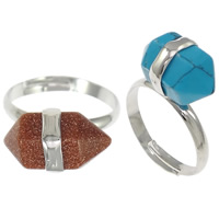 Natural Gemstone Finger Ring Zinc Alloy with Gemstone Bicone platinum color plated different materials for choice   faceted nickel lead   cadmium free 10mm US Ring Size:8 20PCs/Lot