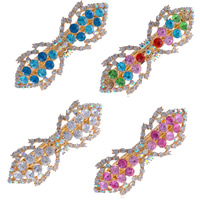 Hair Barrettes, Zinc Alloy, gold color plated, with rhinestone, mixed colors, 90x30mm, 80mm, 2Bags/Lot, 12PCs/Bag, Sold By Lot