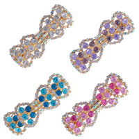 Hair Barrettes, Zinc Alloy, gold color plated, with rhinestone, mixed colors, 90x30m, 80mm, 2Bags/Lot, 12PCs/Bag, Sold By Lot