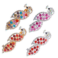 Hair Barrettes, Zinc Alloy, Peacock, plated, with rhinestone, mixed colors, 90x30mm, 80mm, 2Bags/Lot, 12PCs/Bag, Sold By Lot