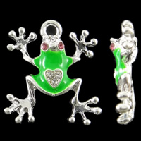 Zinc Alloy Animal Pendants Frog silver color plated enamel   with rhinestone nickel lead   cadmium free 19x21x4mm Hole:Approx 2.5mm 10PCs/Bag
