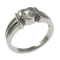 Stainless Steel Finger Ring, Heart, with cubic zirconia, original color, 7mm, Size:8, 10PCs/Lot, Sold By Lot