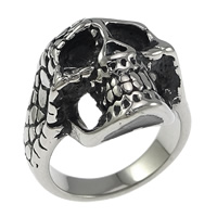 Stainless Steel Finger Ring, Skull, hollow & blacken, 22mm, Size:8, 10PCs/Lot, Sold By Lot