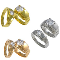 Couple Finger Rings, Stainless Steel, plated, for couple & with cubic zirconia, more colors for choice, 7.5mm, 12mm, Hole:Approx 2mm, Size:8, 3Sets/Lot, Sold By Lot