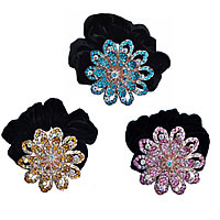 Hair Elastic, Zinc Alloy, with Velveteen, Flower, platinum color plated, with rhinestone, mixed colors, nickel, lead & cadmium free, 60x60mm, 12PCs/Lot, Sold By Lot