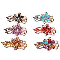 Hair Barrettes, Zinc Alloy, with Resin, Flower, rose gold color plated, faceted & with rhinestone, mixed colors, nickel, lead & cadmium free, 88x50mm, 12PCs/Lot, Sold By Lot