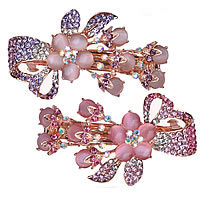 Hair Barrettes, Zinc Alloy, with Cats Eye, Flower, rose gold color plated, with rhinestone, mixed colors, nickel, lead & cadmium free, 82x40mm, 12PCs/Lot, Sold By Lot