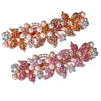 Hair Barrettes, Zinc Alloy, Flower, rose gold color plated, with plastic pearl & with rhinestone, mixed colors, nickel, lead & cadmium free, 88x26mm, 12PCs/Lot, Sold By Lot
