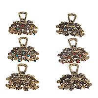 Hair Claw Clips, Zinc Alloy, Flower, antique gold color plated, with rhinestone, mixed colors, nickel, lead & cadmium free, 58x32mm, 24PCs/Lot, Sold By Lot