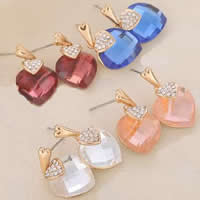 Zinc Alloy Drop Earring, with Crystal, stainless steel post pin, Heart, plated, faceted & with rhinestone, mixed colors, nickel, lead & cadmium free, 15x25mm, 10Pairs/Bag, Sold By Bag