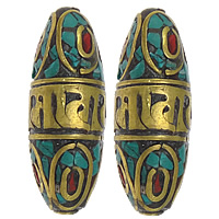 Brass Jewelry Beads, with Turquoise, Oval, gold color plated, Buddhist jewelry, nickel, lead & cadmium free, 14x36mm, Hole:Approx 2mm, 20PCs/Lot, Sold By Lot