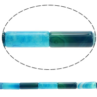 Lace Agate Beads, Column, blue, 20x8mm, Hole:Approx 1.2mm, Length:Approx 15.5 Inch, 5Strands/Lot, Approx 19PCs/Strand, Sold By Lot